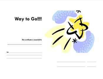 Way to Go! Certificate
