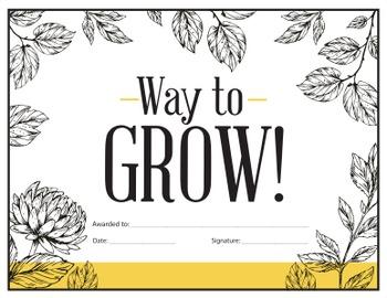Way to Grow - reward certificate
