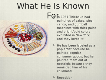 Wayne Thiebaud PowerPoint with Pen and Ink with Watercolor Project Idea