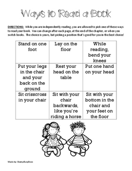 Ways To Read- Choice Board