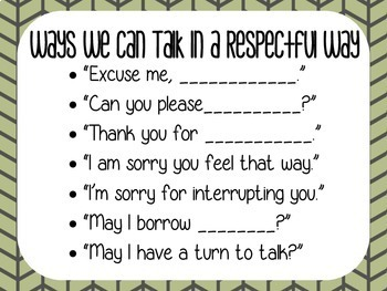 Ways We Can Talk in a Respectful Way-Sentence Stems Poster
