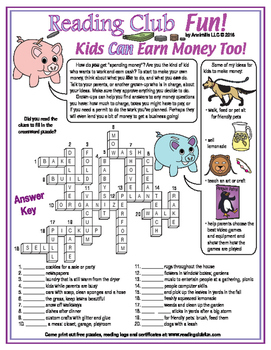 Ways for Kids to Make Money Crossword Puzzle