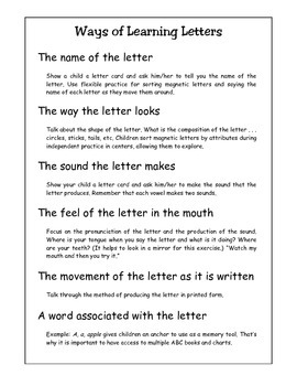 Ways of Learning Letters:Tips for Teachers