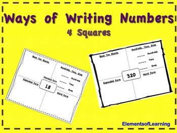 Ways of Writing Numbers- 4 Squares