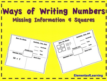 Ways of Writing Numbers Missing Information 4 Squares