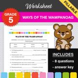 Ways of the Wampanoag Worksheet