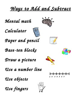 Ways to Add and Subtract