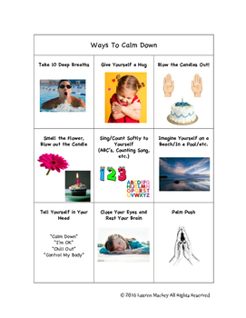 """Strategies/Ways to Calm Down - Perfect for your """"Time-Out"""""""