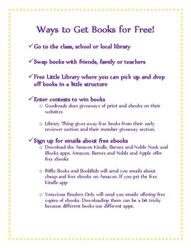 Ways to Get Books for Free handout