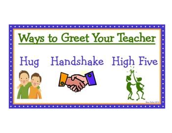 Ways to Greet Your Teacher classroom sign