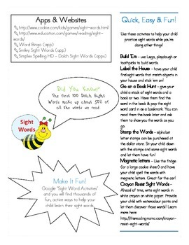 Ways to Help Your Child Learn Sight Words Parent Handout