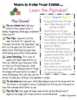 Ways to Help Your Child Learn the Alphabet Parent Handout
