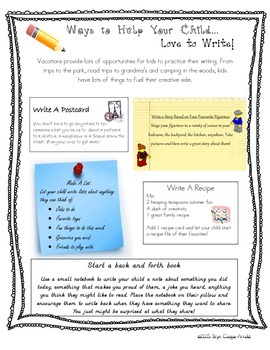 Ways to Help Your Child Love to Write Parent Handout