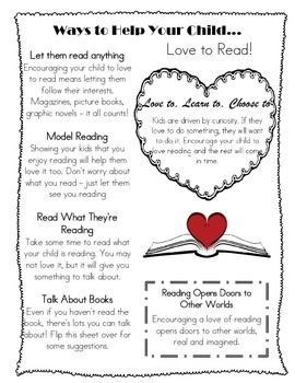 Ways to Help Your Child Love to Read Parent Handout