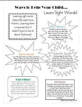 Ways to Help Your Child Parent Handout Bundle