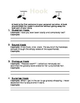 Ways to Hook your Reader- Worksheet