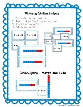 Ways to Make 10 - GO  MATH! Kindergarten Center Activities