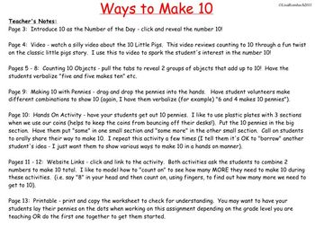 Ways to Make 10 SmartBoard Lesson for Primary Grades