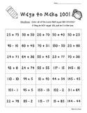 Ways to Make 100!  Number Sense Activity/Worksheet