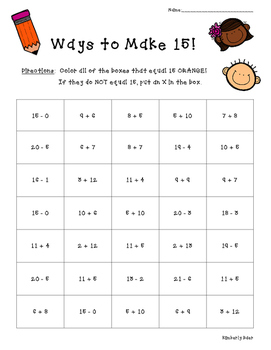 Ways to Make 15!  Math Number Sense Activity