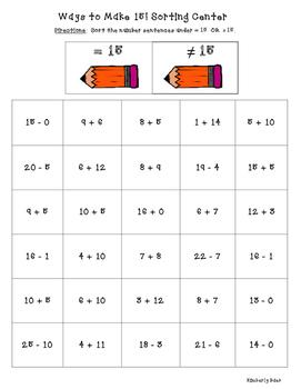 Ways to Make 15! Math Number Sense Sorting Center