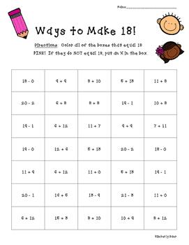 Ways to Make 18!  Math Number Sense Activity