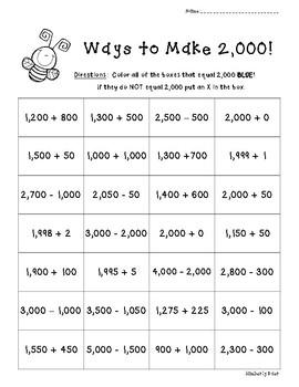 Ways to Make 2,000!!  Number Sense Practice Worksheet