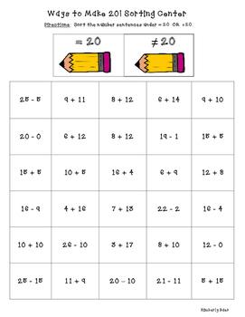 Ways to Make 20! Math Number Sense Sorting Center