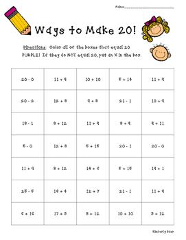 Ways to Make 20! Math Number Sense Activity
