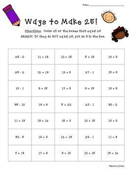 Ways to Make 25!  Math Number Sense Activity