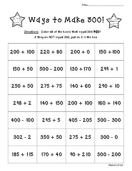 Ways to Make 300!  Math Number Sense Activity Worksheet