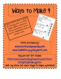 Ways to Make 4 - Math Composing Number worksheet