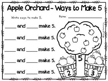 Ways to Make 5- Fall Apple Math FREEBIE
