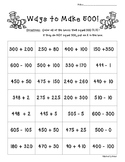Ways to Make 500!  Number Sense Activity Worksheet