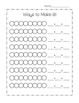 Ways to Make 6, 7, 8, 9, 10