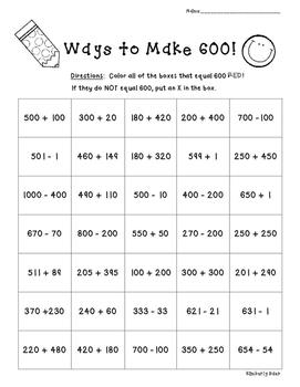 Ways to Make 600!!  Number Sense Practice Worksheet