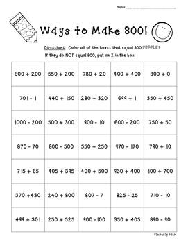 Ways to Make 800!!  Number Sense Practice Worksheet