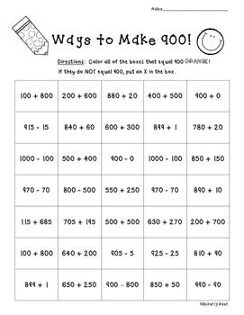 Ways to Make 900!!  Number Sense Practice Worksheet
