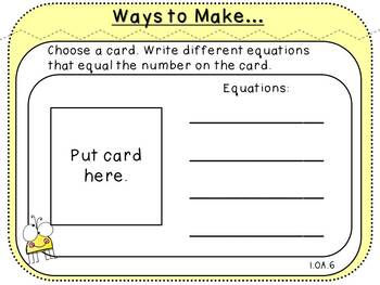 Ways to Make-Fact Fluency Activity (First Grade, 1.OA.6)