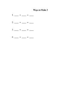 Ways to Make Numbers 1-10 Mathematics Packet