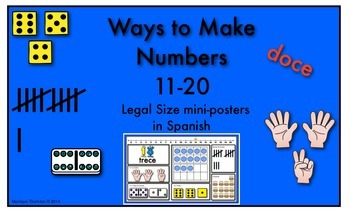 Ways to Make Numbers 11-20 (Legal Size Posters) in Spanish