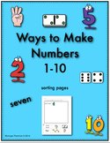 Ways to Make Numbers to 10 Sorting Pages