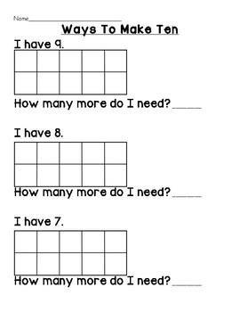 Ways to Make Ten - I have... How many more do I need?