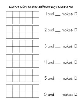 Ways to Make Ten - worksheet