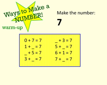 Ways to Make a Number (Smartboard Interactive Game)