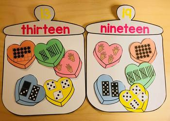 Ways to Make a Teen Number Valentine Subitizing