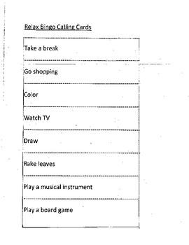 Ways to Relax Bingo