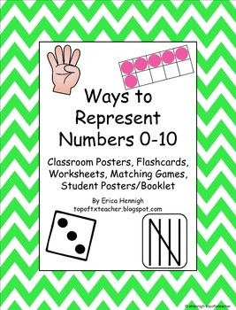Ways to Represent Numbers 0-10 Posters, Flashcards, Matching Games, Booklet TEKS