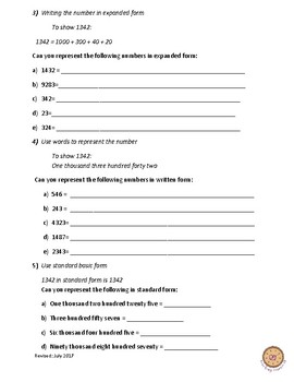 Ways to Represent a Number- Teacher Led Worksheet