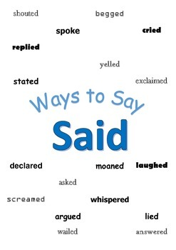"Ways to Say ""Said"" Mini Writing Lesson Poster"